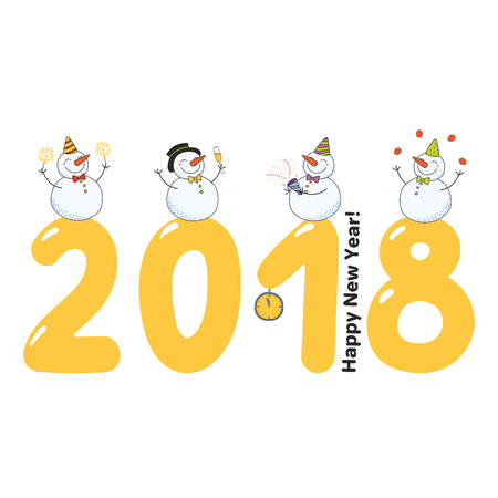 Hand drawn Happy New Year 2018 greeting card, banner template with cute funny cartoon snowmen standing on big numbers, typography. Isolated objects. Vector illustration. Design concept for party.
