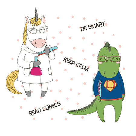 Hand drawn illustration of a cute funny unicorn in a lab coat with chemical reagents, dragon in glasses, holding a comic book, text. Design concept children, geek culture.