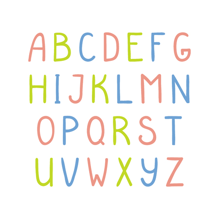 Hand drawn cute and bright latin alphabet
