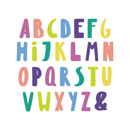 Hand drawn cute and bright latin alphabet.
