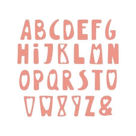 Hand getekend schattig Latijns-alfabet in Scandinavische stijl, in roze, met harten.