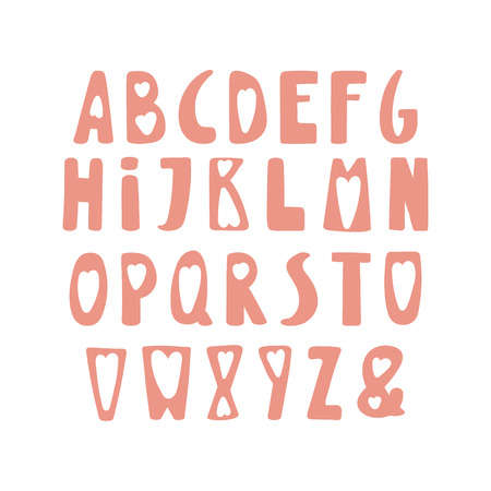 Hand drawn cute latin alphabet in Scandinavian style, in pink, with hearts. Illustration