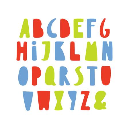 Hand getekend schattig en helder Latijns-alfabet.
