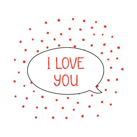 """Hand getekend schattig """"I love you"""" citaat in een toespraak ballon vectorillustratie"""