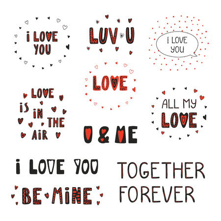 Collection of different typographic quotes about love, hearts vector illustration Ilustração
