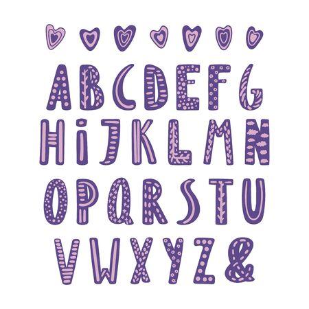 Hand getekend schattig Latijns-alfabet in Scandinavische stijl met sierlijke letters in violet en lila.