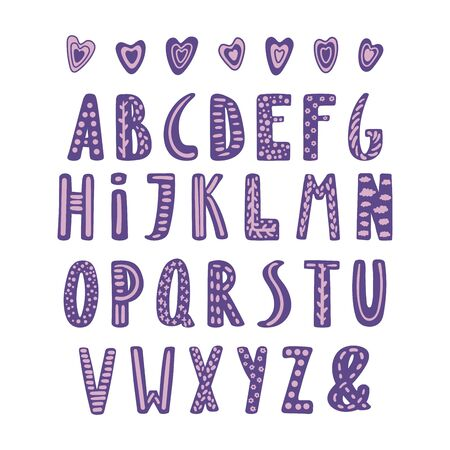 Hand drawn cute latin alphabet in Scandinavian style with ornate letters in violet and lilac.