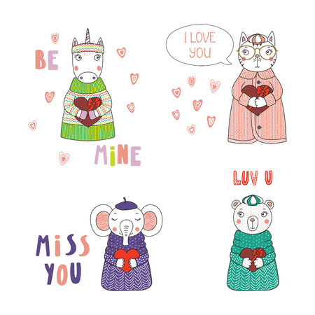 Set of hand drawn cute funny cartoon animals in sweaters, hats, holding hearts, with typography, Isolated objects on white background, Design concept for children, Valentines day. Illustration