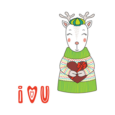 Hand drawn illustration of a cute funny cartoon deer in sweater, holding a chocolate heart, with typography, isolated objects on white background, Design concept for children.