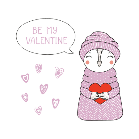 Hand drawn illustration of a cute funny cartoon owl in sweater, hat, holding a heart, with typography, Isolated objects on white background, Design concept for children, Valentines day.