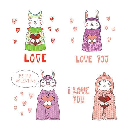 Set of hand drawn cute funny cartoon animals in sweaters, hats, holding hearts, with typography isolated objects on white background, Design concept for children, Valentines day.