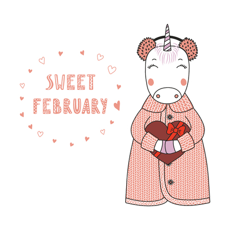 Hand drawn illustration of a cute funny cartoon unicorn in cardigan, holding a chocolate heart, with typography isolated objects on white background, Design concept for kids, Valentines day