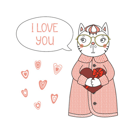 Hand drawn illustration of a cute funny cartoon cat in cardigan, hat, holding a heart, with typography Isolated objects on white background, Design concept for children, Valentines day.