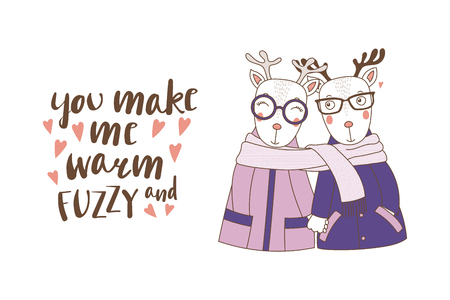 Hand drawn illustration of a couple of cute funny deers in coats, holding hands and wrapped in one scarf, with text, isolated objects on white background, Design concept kids, Valentines day.