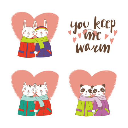Set of hand drawn cute funny animal couples, holding hands and wrapped in a muffler, with typography, Isolated objects on white background, Design concept for kids, Valentines day. Иллюстрация