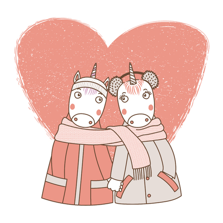 Hand drawn illustration of a couple of cute funny unicorns in coats, holding hands and wrapped in a scarf, with heart. Isolated objects on white background, Design concept kids, Valentines day.