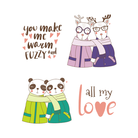 Set of hand drawn cute funny animal couples, holding hands and wrapped in a muffler, with typography, Isolated objects on white background, Design concept for kids, Valentines day. Çizim