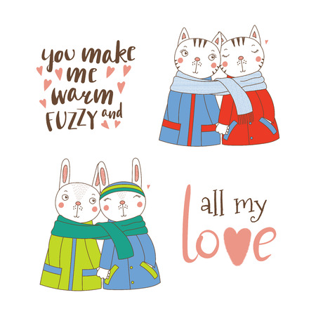 Set of hand drawn cute funny animal couples, holding hands and wrapped in a muffler, with typography, Isolated objects on white background, Design concept for kids, Valentines day. Illustration