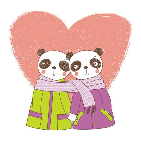 Two cute pandas icon. Illustration