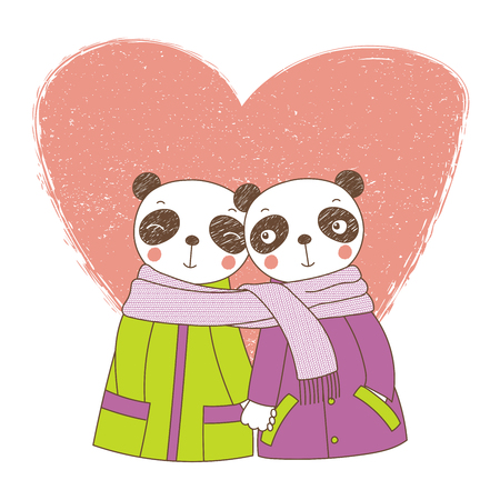 Two cute pandas icon. Иллюстрация