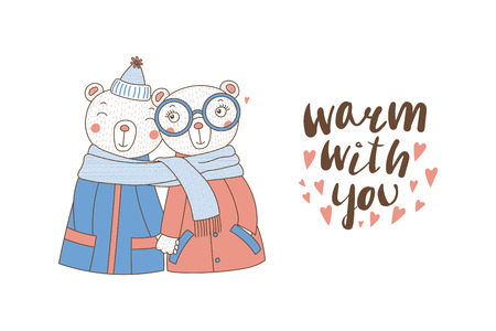 Hand drawn illustration of a couple of cute funny bears in coats, holding hands and wrapped in one scarf, with text isolated objects on white background.