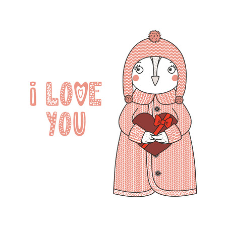 Hand drawn illustration of a cute funny cartoon owl in cardigan, holding a chocolate heart, with typography Isolated objects on white background, Design concept for children, Valentines day.