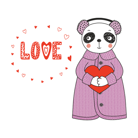 Hand drawn vector illustration of a cute funny cartoon panda in cardigan, earmuffs, holding a heart, with typography. Isolated objects on white background. Design concept for children, Valentines day. Vectores