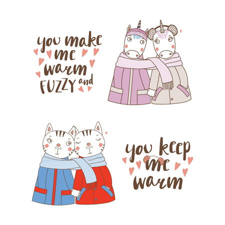 Set of hand drawn cute funny animal couples, holding hands and wrapped in a muffler, with typography vector illustration
