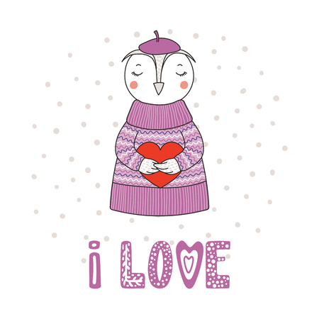 Hand drawn vector illustration of a cute funny cartoon owl in sweater, hat, holding a heart, with typography. Isolated objects on white background. Design concept for children, Valentines day.