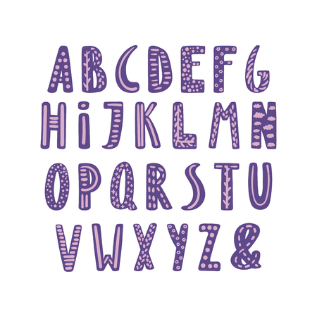 Hand drawn cute latin alphabet in Scandinavian style with ornate letters in violet and lilac. Make your own lettering. Isolated letters on white background. Vector illustration. Çizim