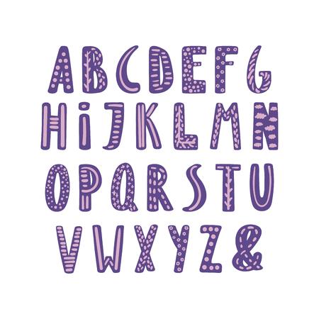 Hand getekend schattig Latijns-alfabet in Scandinavische stijl met sierlijke letters in violet en lila. Maak je eigen letters. Geïsoleerde letters op een witte achtergrond. Vector illustratie