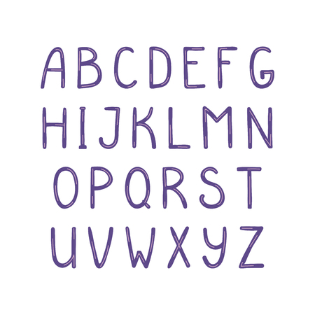 Hand drawn cute latin alphabet, in violet. Make your own lettering. Isolated letters on white background. Vector illustration.