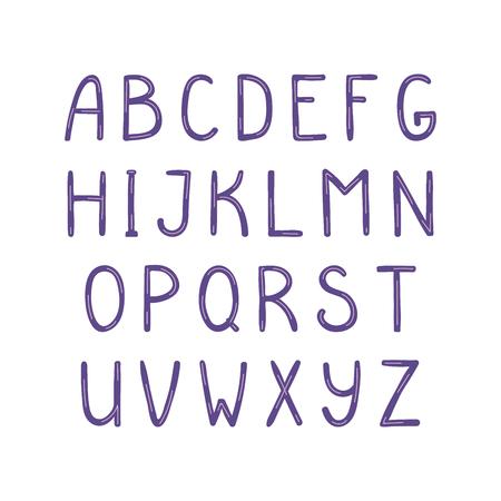 Hand getekend schattig Latijns alfabet, in violet. Maak je eigen letters. Geïsoleerde letters op een witte achtergrond. Vector illustratie