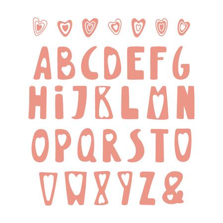 Hand getekend schattig Latijns-alfabet in Scandinavische stijl, in roze, met harten. Maak je eigen Valentijnsdag belettering. Geïsoleerde letters op een witte achtergrond. Vector illustratie Stock Illustratie