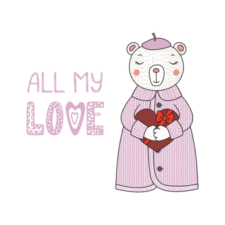 Hand drawn vector illustration of a cute funny cartoon bear in cardigan, holding a chocolate heart, with typography. Isolated objects on white background. Design concept for children, Valentines day.