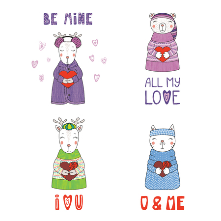 Set of hand drawn cute funny cartoon animals in sweaters, hats, holding hearts, with typography. Isolated objects on white background. Design concept for children, Valentines day. Vector illustration.
