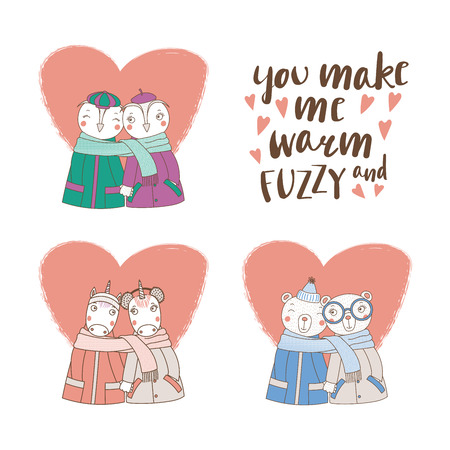 Set of hand drawn cute funny animal couple with typography vector illustration