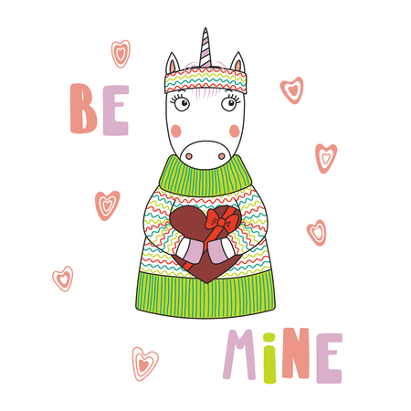 Hand drawn vector illustration of a cute funny cartoon unicorn in sweater, holding a chocolate heart, with typography. Isolated objects on white background. Design concept for children, Valentines day