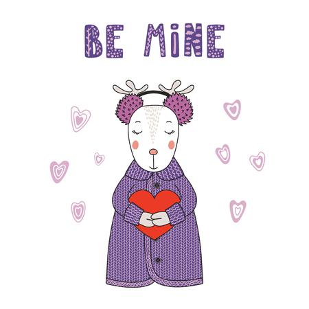Hand getrokken vectorillustratie van een leuk grappig cartoonhert in vest, oorbeschermers, die een hart, met typografie houden. Geïsoleerde objecten op een witte achtergrond. Ontwerpconcept voor kinderen, Valentijnsdag.