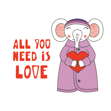 Hand drawn vector illustration of a cute funny cartoon elephant in cardigan, hat, holding a heart, with typography. Isolated objects on white background. Design concept for children, Valentines day.