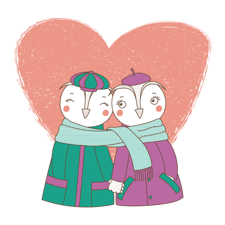 Hand drawn vector illustration of a couple of cute funny owls in coats, holding hands and wrapped in one scarf, with heart. Isolated objects on white background. Design concept kids, Valentines day