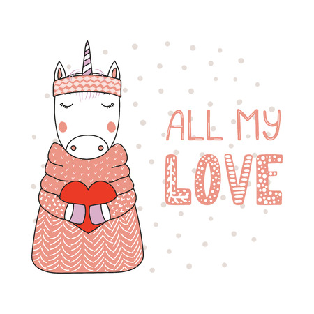 Hand drawn vector illustration of a cute funny cartoon unicorn in sweater, headband, holding a heart, with typography. Isolated objects on white background. Design concept for children, Valentines day