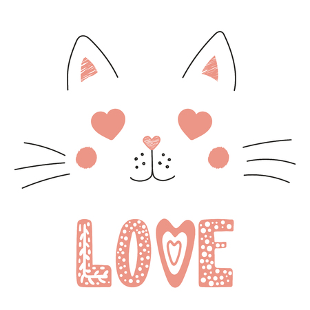 Hand drawn vector portrait of a cute funny cat with heart shaped eyes, romantic quote. Isolated objects on white background. Vector illustration. Design concept for children, Valentines day card.