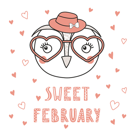 Hand drawn vector portrait of a cute funny owl in heart shaped glasses, with romantic quote. Isolated objects on white background. Vector illustration. Design concept children, Valentines day card.