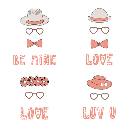 Set of hand drawn hats, bow ties, flower chain, heart shaped glasses, romantic quotes. Isolated objects on white background. Vector illustration. Design concept for children, Valentines day card.