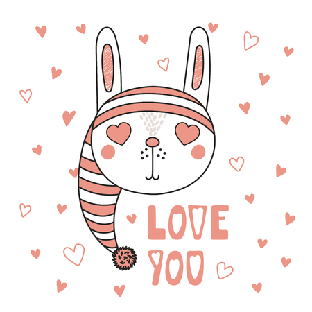 Hand drawn vector portrait of a cute funny bunny with heart shaped eyes, romantic quote. Isolated objects on white background. Vector illustration. Design concept for children, Valentines day card.