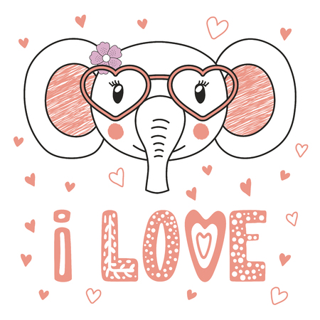 Hand drawn vector portrait of a cute funny elephant in heart shaped glasses, with romantic quote. Isolated objects on white background. Vector illustration. Design concept kids, Valentines day card.