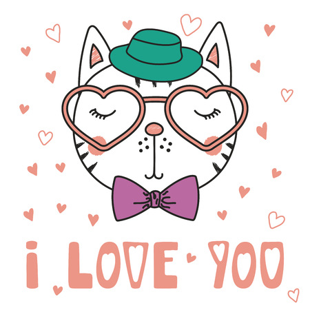 Hand drawn vector portrait of a cute funny cat in heart shaped glasses, with romantic quote. Isolated objects on white background. Vector illustration. Design concept children, Valentines day card. Illustration