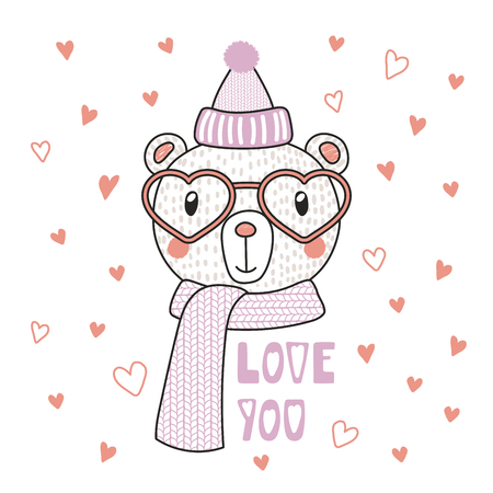 Hand drawn vector portrait of a cute funny bear in heart shaped glasses, with romantic quote. Isolated objects on white background. Vector illustration. Design concept children, Valentines day card. Illustration
