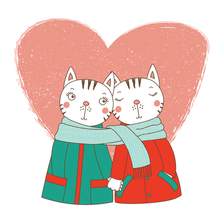 Hand drawn vector illustration of a couple of cute funny cats in coats, holding hands and wrapped in one scarf, with heart. Isolated objects on white background. Design concept kids, Valentines day